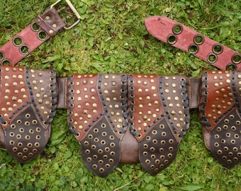 Leather studs belt bag Bikertasche