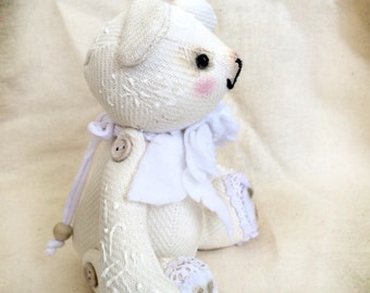 White OOAK teddy bear