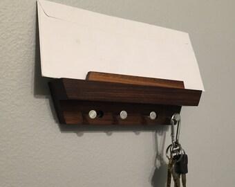 Walnut Entryway Mail Organizer and Key Rack