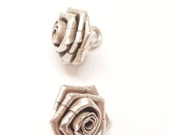 Sterling Silver Rose Button Charm