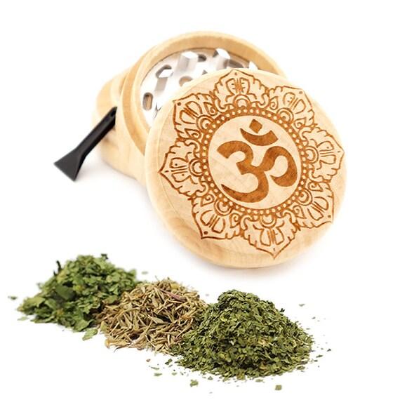 Om Mandala Engraved Premium Natural Wooden Grinder Item # PW042716-31