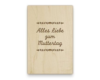"Wooden Postcard ""Best wishes for mother's day"" with your personalized wishes and adress, engraved"