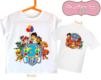 Paw Patrol Birthday shirt - Personalized Paw Patrol shirt - front and back