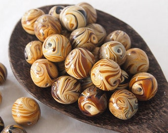 5 Lampwork Round Glass Large Beads Ochre Caramel Brown Blue 20mm Hole Size 2mm