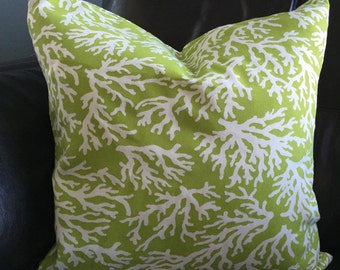 Green with White Coral Pillow Cover