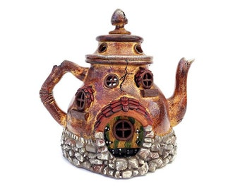 Fairy house, fairy garden, fairy teapot cottage, teapot fairy houses, fairy garden house, fairy garden accessory, fairies, miniature garden