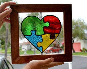 Autism Puzzle Heart Stained Glass