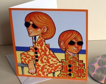 Sounds of the 60s-Dedicated Followers of Fashion. A Greetings Card. Celebration.