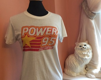 80s Radio Station T-shirt Power 95 New York and New Jersey (A438)