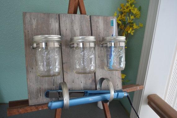 items similar to mason jar organizer, bathroom organizer