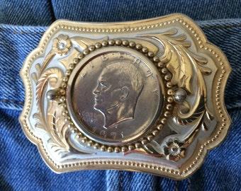 Vintage Silver Dollar Belt Buckle Big 70's Buckle