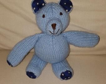 Handmade Knit Stuffed Teddy Bear with Star Print
