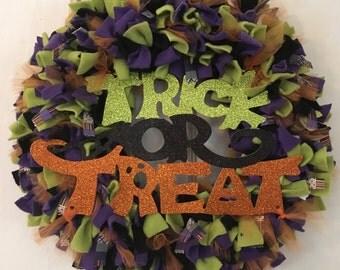 Sale price, Halloween Wreath, Halloween decor, trick or treat, rag, fleece, black, orange, front door wreath, MOSTaDOORableWREATHS,