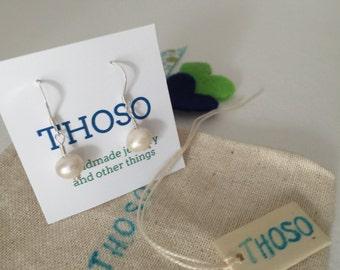Fresh water pearls fishhook earwire,sterling silver .925
