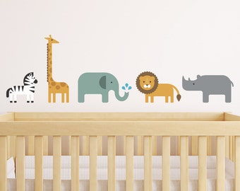 Safari Wall Decal, Safari Animal Decal, Jungle Wall Decal, Jungle Animal Decal, Lion Wall Decal, Lion Decal, Elephant Decal, Giraffe Decal