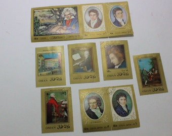 Set of 10 postage stamps from Oman featuring Mozart & Beethoven, Oman postage stamps