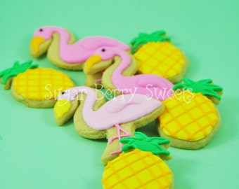 Pineapple and Flamingo sugar Cookies - sweet -cute -tropical - colorful - summer -retro love - gift - pool party favor