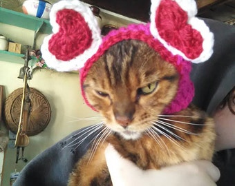 Valentine's day cat hat. Valentine cat costume. Cat hat. Pink and red. Heart cat hat
