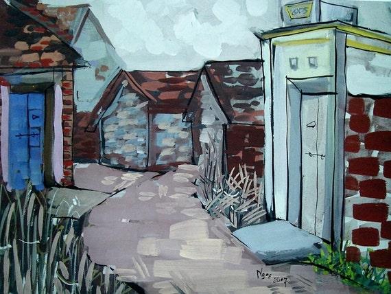 "BRICK ALLEY 20x16"" gouache on paper, live painting, Vietnam village scene (Đường Lâm), original by Nguyen Ly Phuong Ngoc"