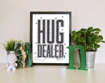 Hug Dealer Nursery Poster print - Minimalist nursery artwork, Typography, Clouds,  Stars, Baby poster,