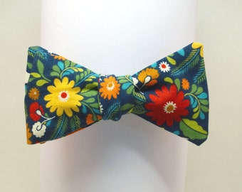 Colorful Floral on Navy Bow Tie