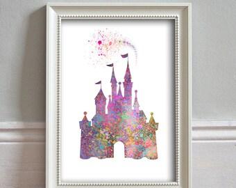 Disney Inspired Castle   WATERCOLOR Art Print, Illustration, Disney Wall Art,  Princess,