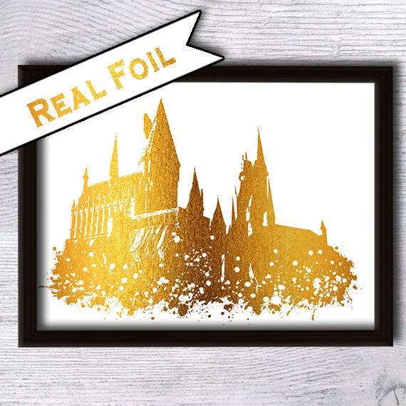 Hogwarts castle poster harry potter print real gold foil decor for Decoration murale harry potter