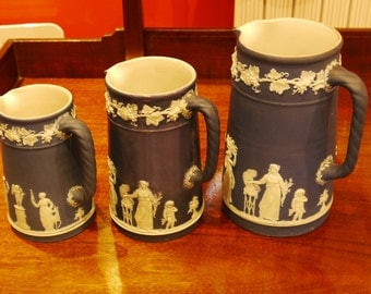 19th c Wedgwood Blue JasperWare 3 graduated size Jug reliefs are very good quality