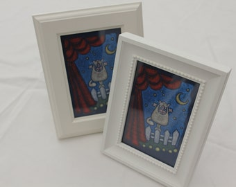 framed singing cat printed on cotton canvas art