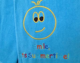 """Large Beach Towel - 100% Cotton - Size 100cm x 180cm (39"""" x 71"""") - Ref. Smile Summertime"""
