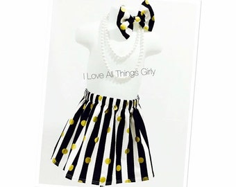 Black/White and Gold Polka Dot Toddler Skirt with Matching Hair Bow