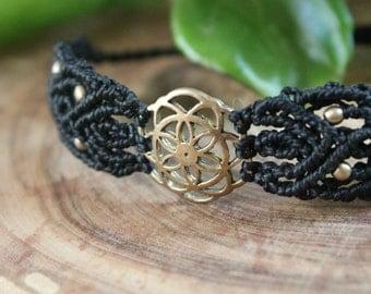Bead bracelets with macrame.