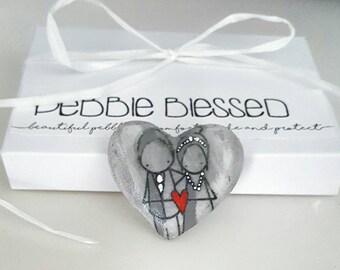 X 25 Special wedding favours - wishing stones - guest book stones - alternative stone guest book - wedding pebbles - wedding pebble art