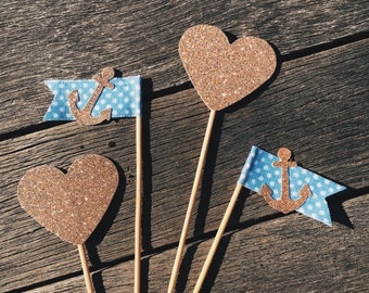 set of 12 heart & anchor cupcake toppers