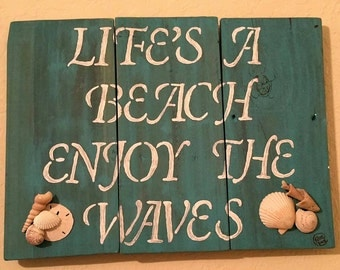 Life's A Beach Enjoy The Waves Reclaimed Wood Painting