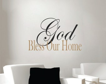 God Bless Our Home decal   Christian wall decal    bible verse wall decals   religious wall decals   religious sayings   God Bless Our Home