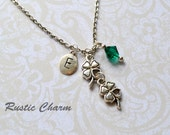 Personalized Birthstone and Initial Double Four Leaf Clover Charm Necklace
