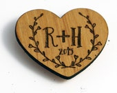 Custom Initials Heart Shaped Magnet - Personalized Magnet - Wooden Laser Engraved - Couples Initials with Laurels - Wedding Favor Gift