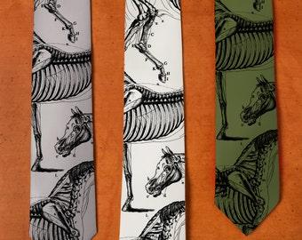 Horse Art - SILK Necktie - Horse Skeleton - Animal Tie - Weird Stuff - Screen Printed Tie - Silk Tie