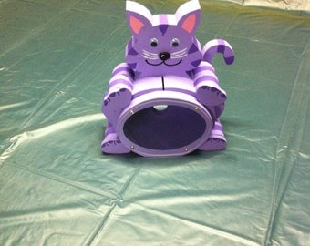Kitty Cat wooden piggy bank--Purple