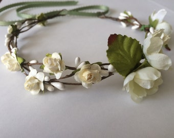 Flower crown, flower girl crown, rose crown, ivory rose headband, toddler headband, wedding headband