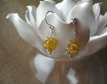 Citronella Yellow Crystal Cluster Drop Earrings