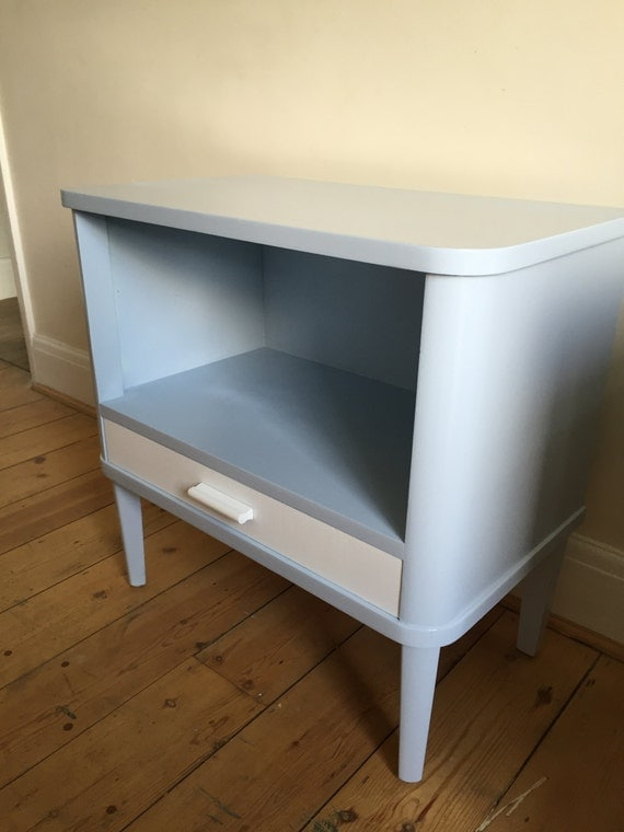 Upcycled Spray Painted Retro Bedside Lamp Table