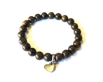 Bronzite gemstone bracelet 8mm beads