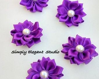 5 Small Purple Satin Flowers, Baby Headband Flowers, DIY Craft Flowers, Fabric Flowers