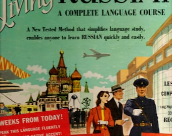 Russian Living Language Course 1956 4 Record LP  Set 33 1/3 RPM Educational New Unused