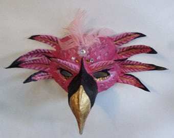 Flamingo Mask, bird mask, rose quartz beads, unique mask with gems, wearable, African bird, masquerade mask