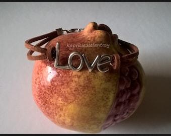 Bracelet leather Suede, Brown bracelet, charm LOVE silver, bracelet minimalist, zen