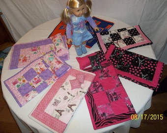 Handcrafted doll quilt and pillow