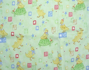 Ducks and Blocks (light green background) Nursery Printed Decorative Fabric